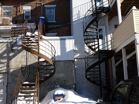 spiral staircases,snow, behind