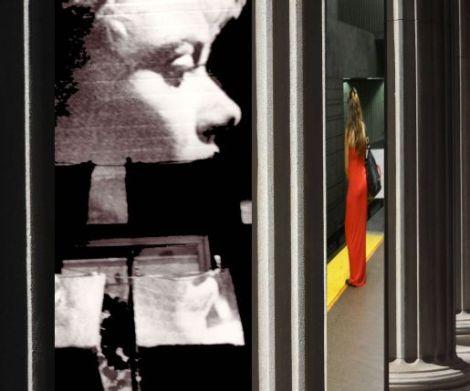 Photograph, Neath Turcot, Red Dress, Woman's Face, Columns