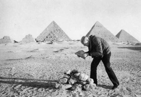 Pyraminds, stones,building,man,photograph,Duane Michals