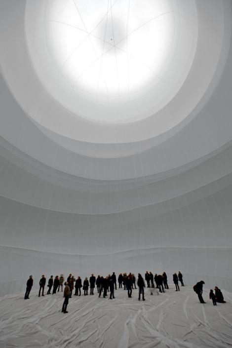 picture of people inside Chisto's work in a gasometer,Big Air Package