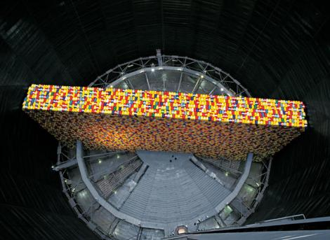 Christo installation in gasometer,The Wall - 13,000 Oil Barrels