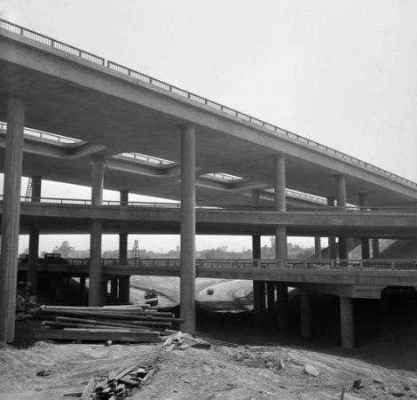 freeway,stack,fifties,losangeles,photograph