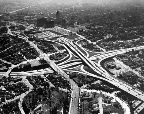 freeway,stack,losangeles,fifties,photograph