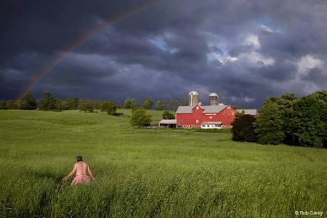 Bob Carey walking through a field in Chester, New York