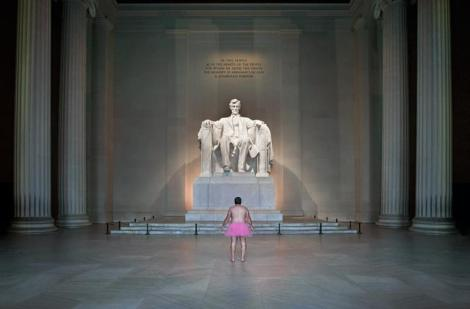 Picture of Bob Carey in a tutu in front of LIncoln Memorial