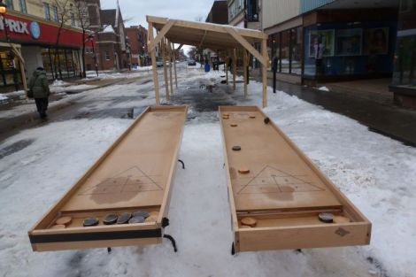 shuffleboard tables after the maple syrup street party